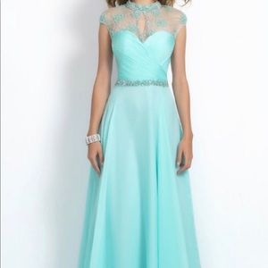 A light blue long dress, worn for pageant/prom